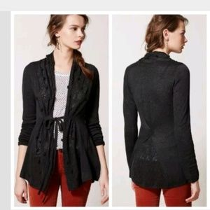 Anthropologie XS Knitted Knotted Cardigan Pom Pom